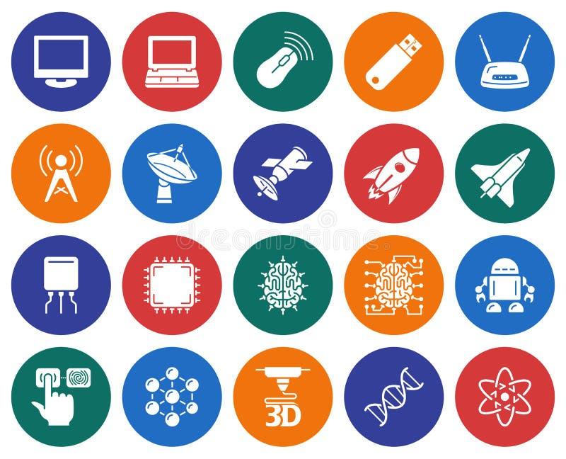 Iconos de alta tecnología fijados ilustración del vector