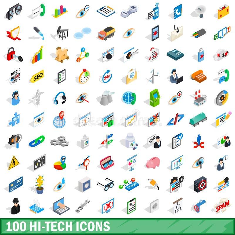 100 iconos de alta tecnología fijados, estilo isométrico 3d libre illustration
