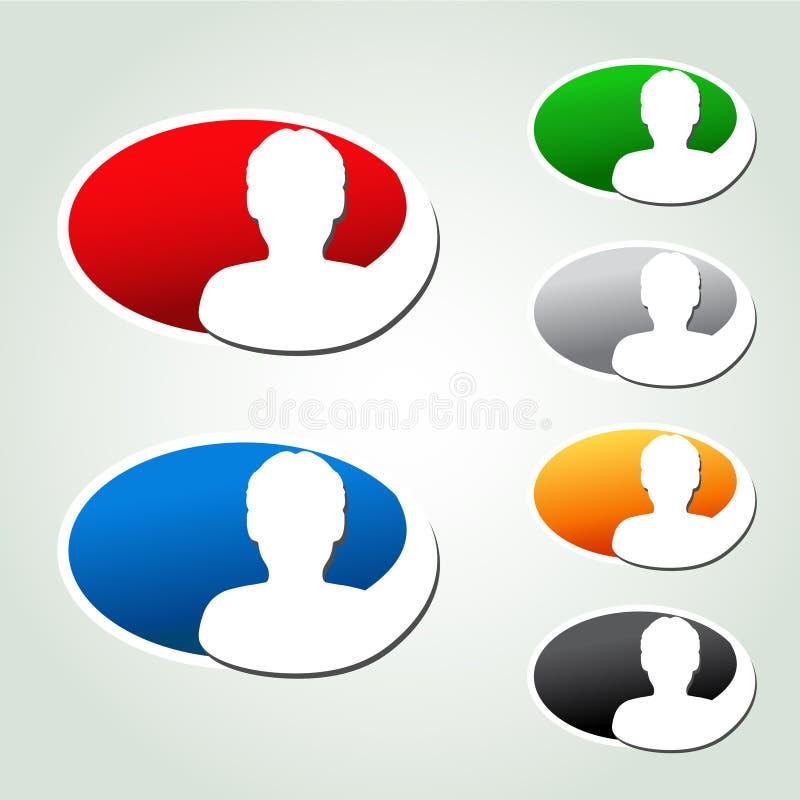 Iconos de Avatar, etiquetas engomadas ovales - ser humano, usuario, miembro ilustración del vector