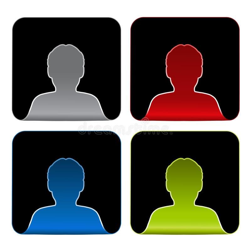 Iconos de Avatar, etiquetas engomadas - ser humano, usuario, miembro stock de ilustración