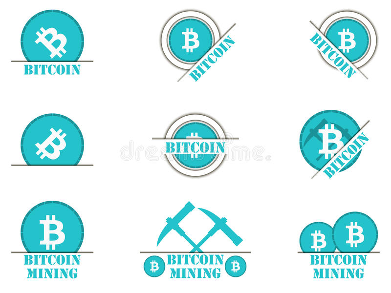 Iconos de Bitcoin El icono de Cryptocurrency fijó con las sombras, minando el dinero Ilustración del vector libre illustration