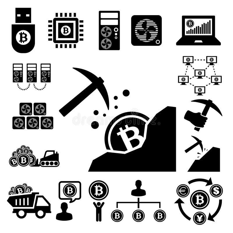 Iconos de Bitcoin fijados stock de ilustración