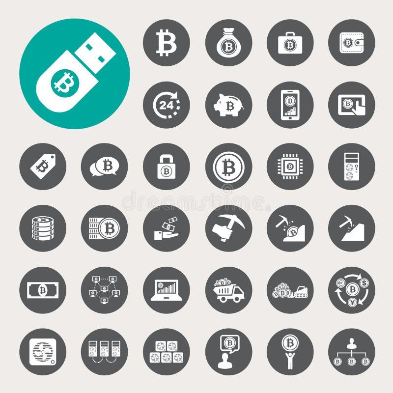Iconos de Bitcoin fijados libre illustration