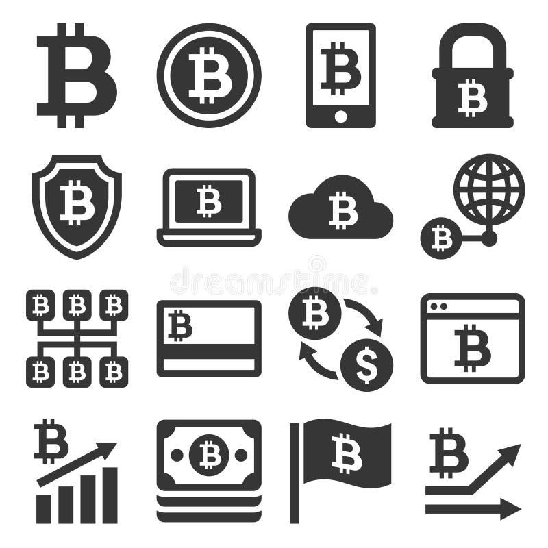 Iconos de Bitcoin fijados ilustración del vector