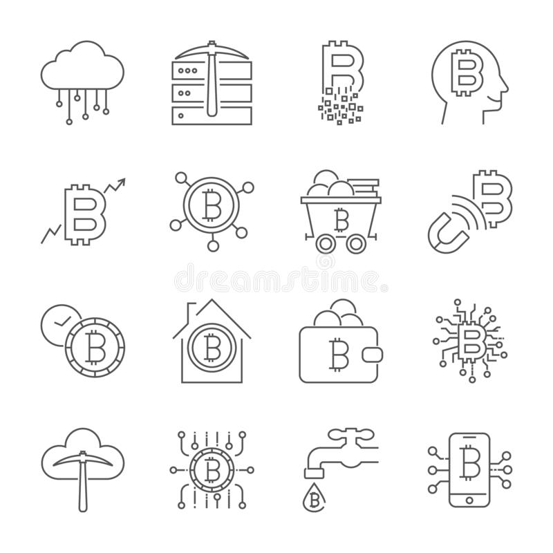 Iconos de Bitcoin fijados Moneda de Digitaces Cryptocurrency Movimiento Editable stock de ilustración