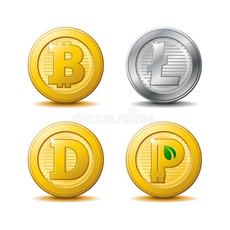 Iconos de Bitcoin y de Litecoin ilustración del vector