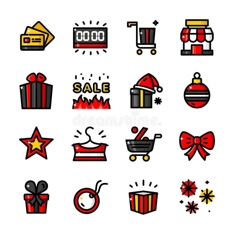 Iconos de Black Friday, ejemplo del vector stock de ilustración