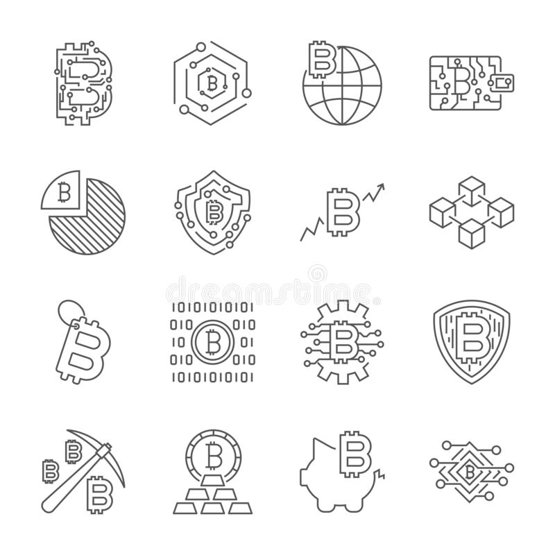 Iconos de Blockchain Cryptocurrency E stock de ilustración