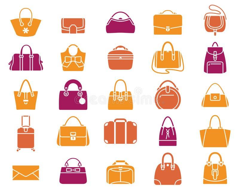 Iconos de bolsos y del equipaje stock de ilustración
