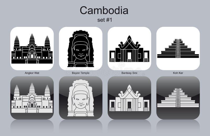 Iconos de Camboya ilustración del vector