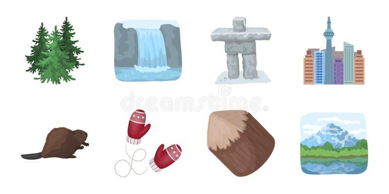 Iconos de Canadá del país en la colección del sistema para el diseño stock de ilustración