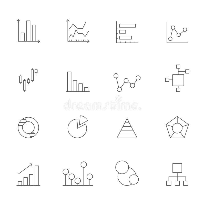 Iconos de cartas y de diagramas Mono línea imágenes de diversos diagramas del negocio stock de ilustración