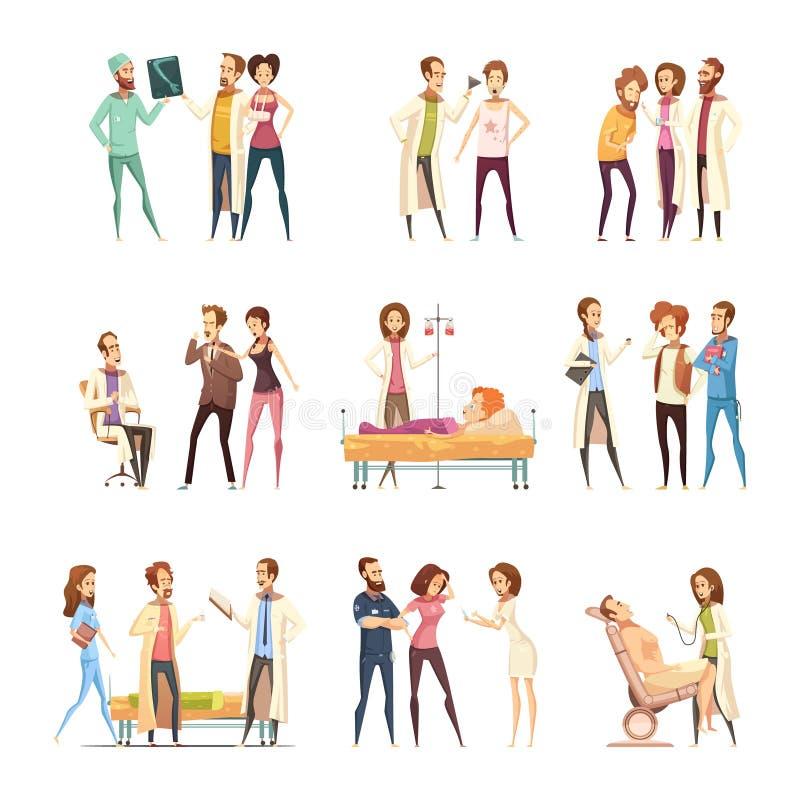 Iconos de Cartoon Characters Decorative de la enfermera libre illustration