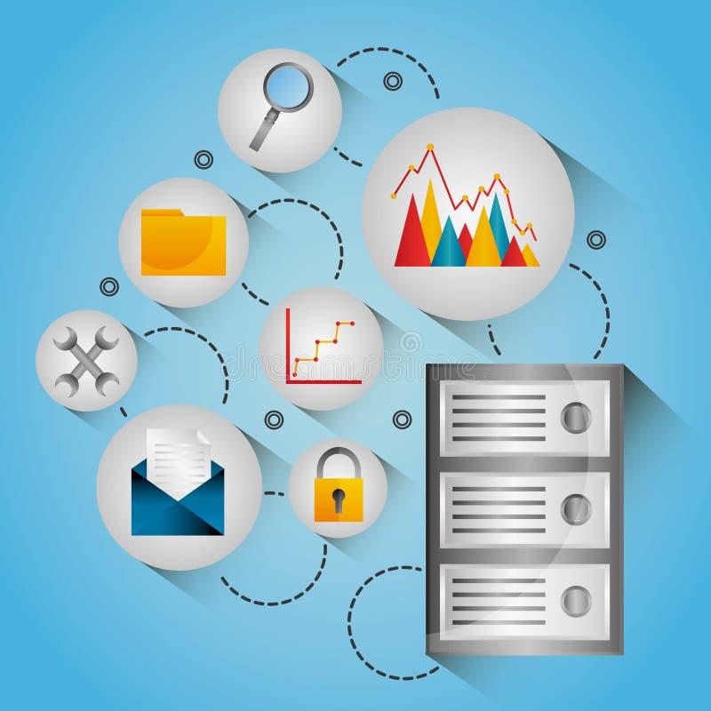 Iconos de centro de la red de la protección del diagrama de la base de datos stock de ilustración
