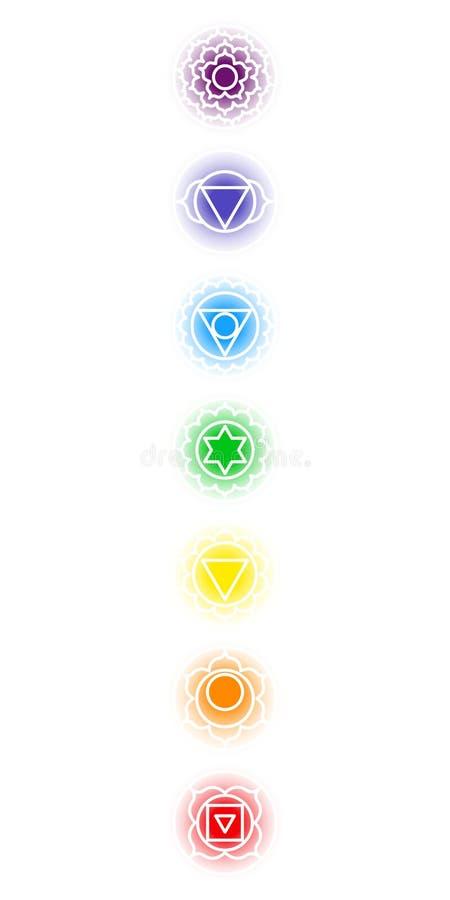 Iconos de Chakra fijados stock de ilustración