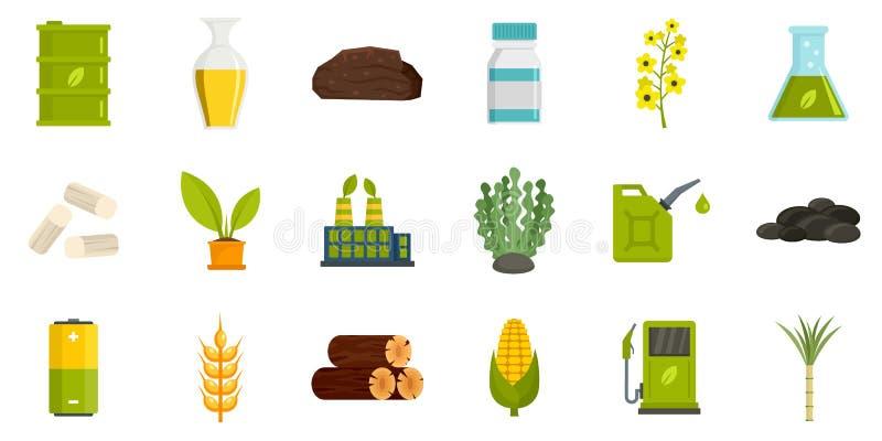 Iconos de combustible de bio, estilo plano stock de ilustración