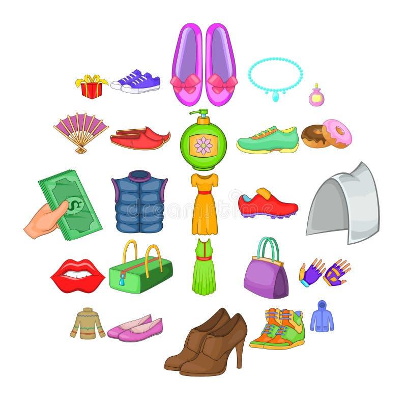 Iconos de compra fijados, estilo de los zapatos de la historieta ilustración del vector