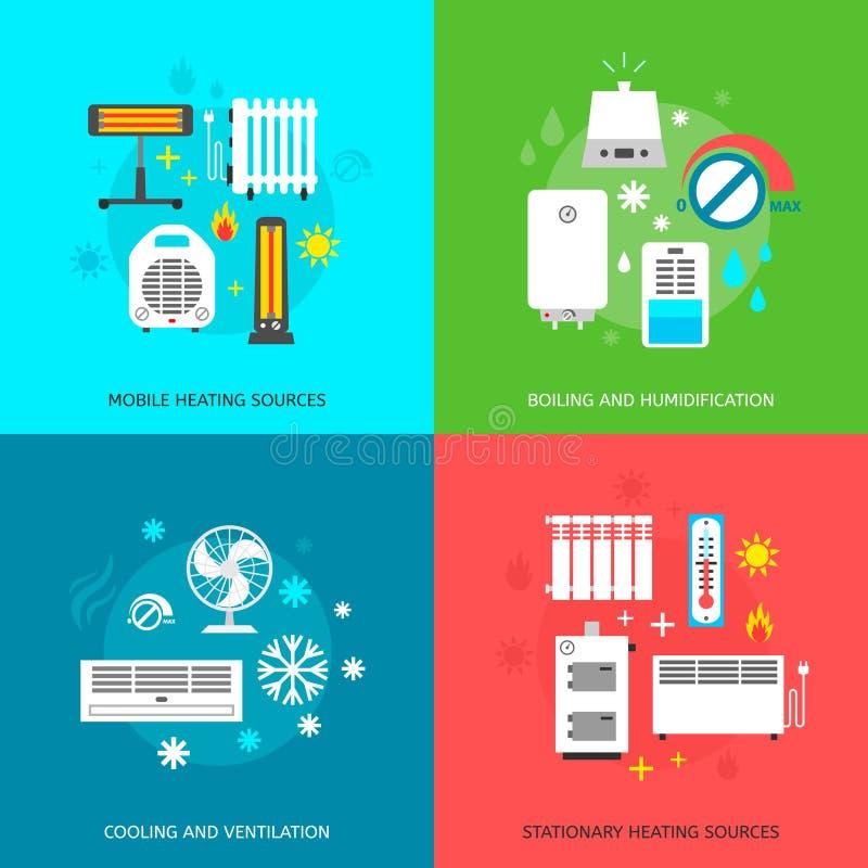 Iconos de condicionamiento de Heatingand fijados ilustración del vector