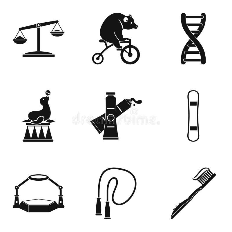 Iconos de contrapeso fijados, estilo simple stock de ilustración