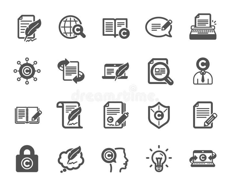 Iconos de Copywriting Copyright, máquina de escribir Vector ilustración del vector
