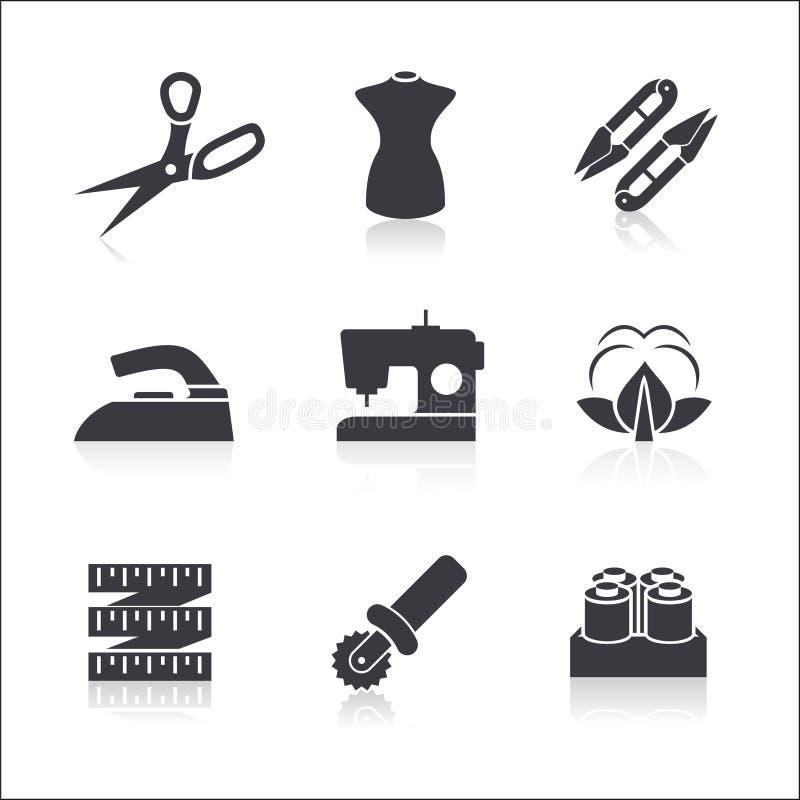 Iconos de costura fijados ilustración del vector