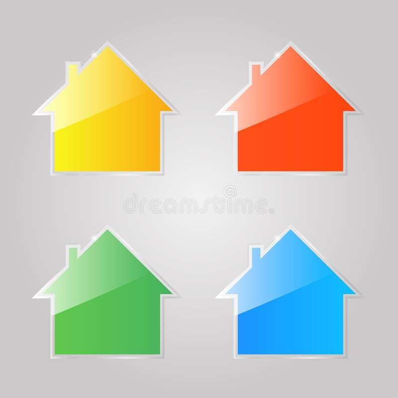 Iconos de cristal brillantes coloreados de casas privadas en un fondo gris libre illustration