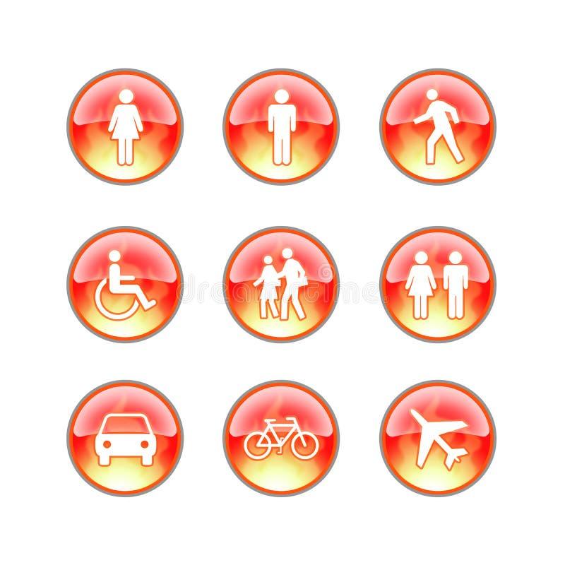 Iconos de cristal del fuego del Web site stock de ilustración