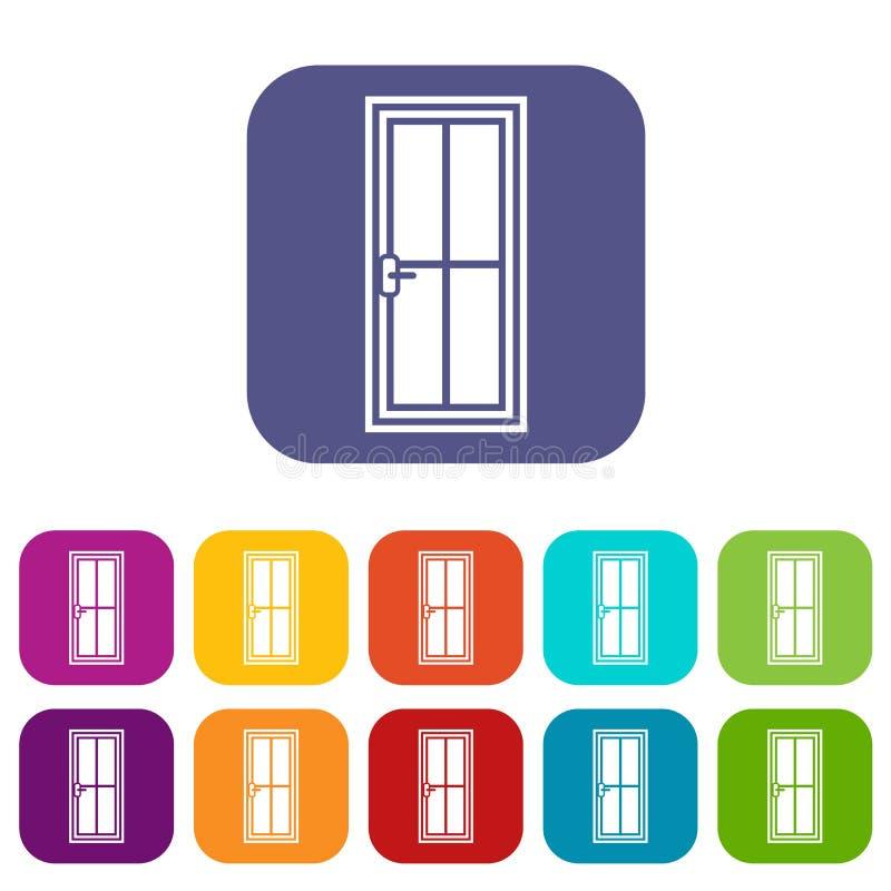 Iconos de cristal de la puerta fijados stock de ilustración