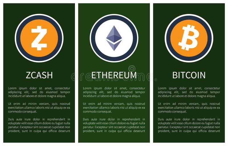 Iconos de Cryptocurrency y texto de la muestra en los carteles ilustración del vector
