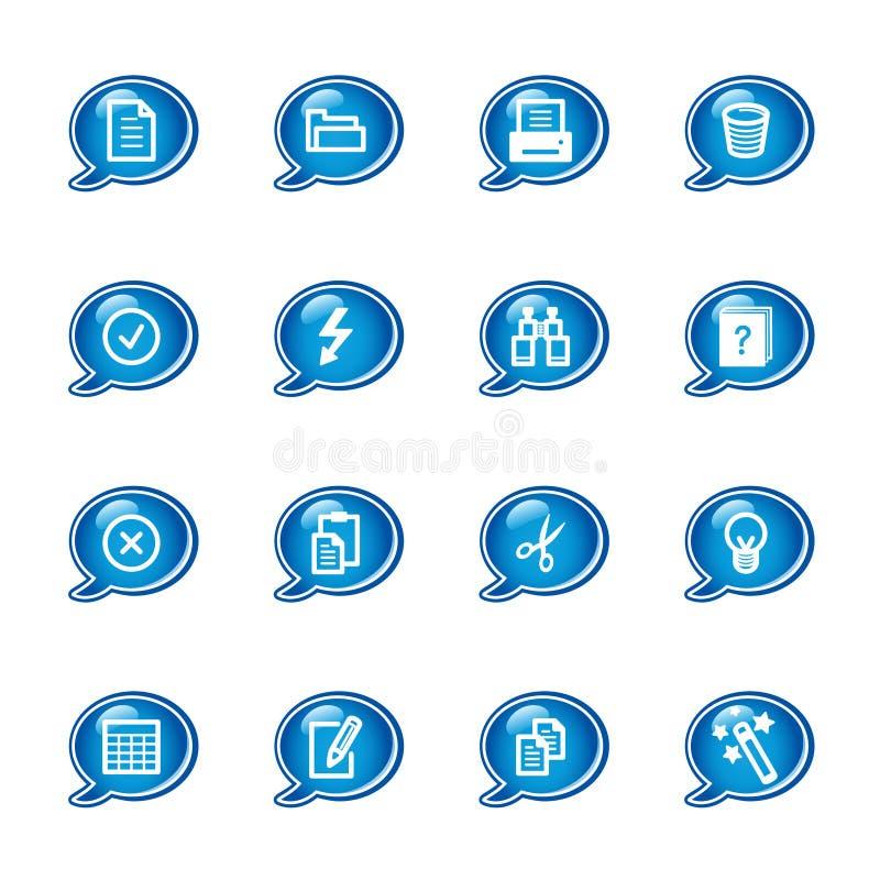 Iconos de documento de la burbuja ilustración del vector