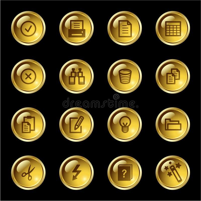 Iconos de documento de la gota del oro ilustración del vector