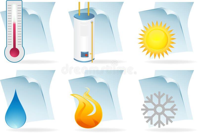 Iconos de documento del calentador de agua libre illustration