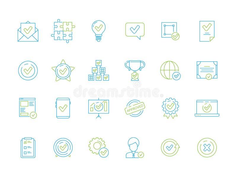Iconos de documentos aprobados legales La garantía certificada aprueba la línea fina símbolos del vector oficial de la firma doc. stock de ilustración