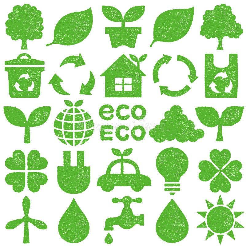 Iconos de Eco Conjunto del sello ilustración del vector