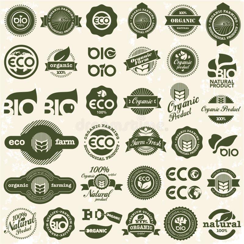 Iconos de Eco. Muestras de la ecología fijadas. stock de ilustración