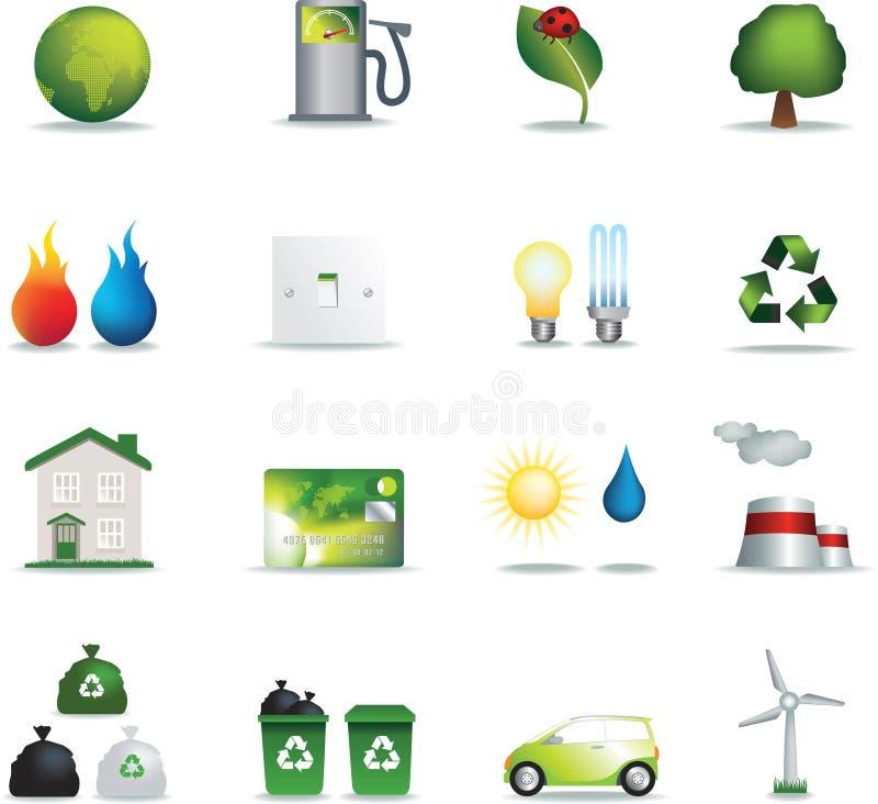Iconos de Eco realistas stock de ilustración
