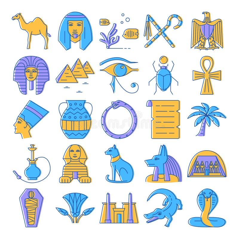 Iconos de Egipto fijados en la l?nea estilo coloreada stock de ilustración