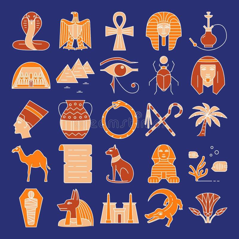 Iconos de Egipto fijados en la l?nea estilo coloreada ilustración del vector