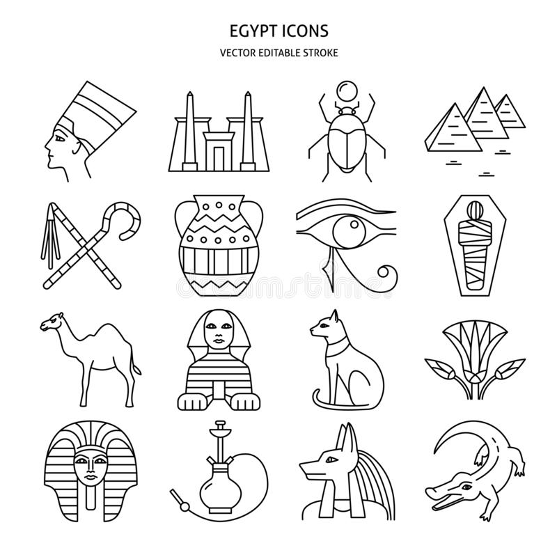 Iconos de Egipto fijados en la l?nea estilo fina stock de ilustración