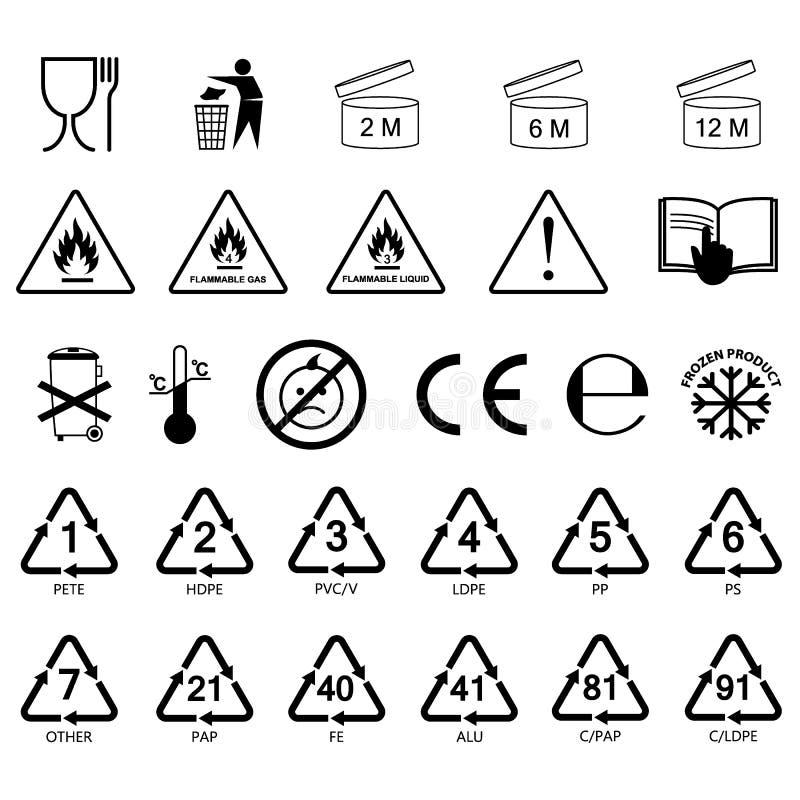 Iconos de empaquetado de la etiqueta de la información, símbolos de empaquetado de la etiqueta, etiquetas ilustración del vector