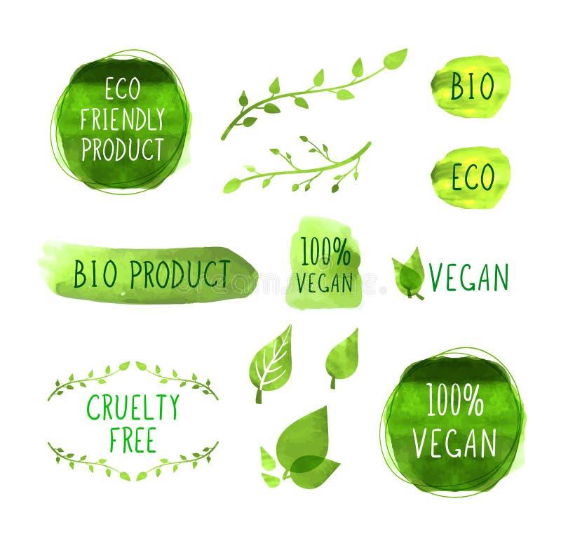 Iconos de empaquetado de las etiquetas del menú del vegano del vector, marcas aisladas, elementos de la acuarela ilustración del vector