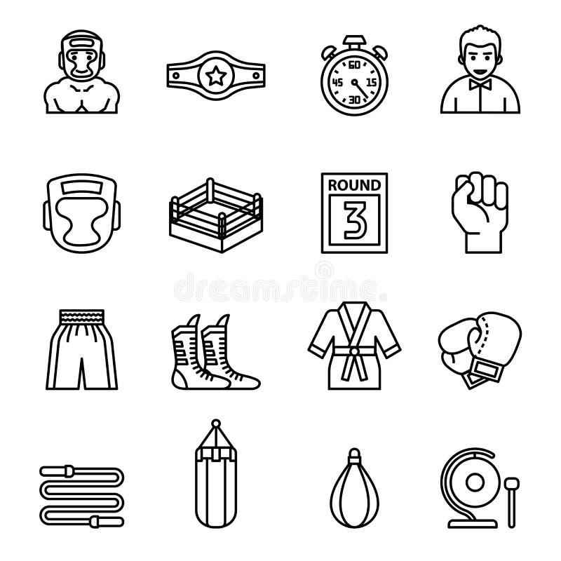 Iconos de encajonamiento y que luchan fijados Línea fina vector de la acción del estilo stock de ilustración
