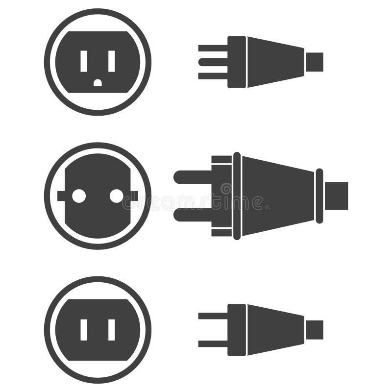 Iconos de enchufes y de zócalos eléctricos tres tipos Vector en un fondo transparente libre illustration