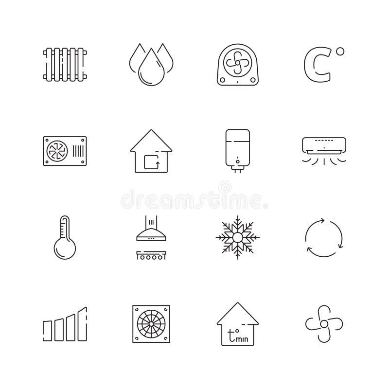 Iconos de enfriamiento de calefacción Línea fina de condicionamiento de ventilación de los símbolos del calor del vector de los s libre illustration