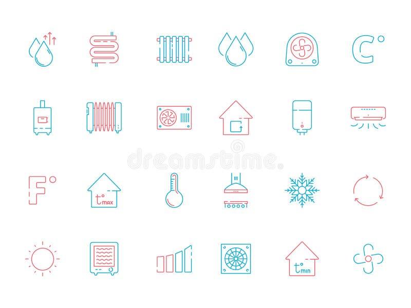 Iconos de enfriamiento El vector de condicionamiento de calefacción del servicio de la ventilación de los símbolos del hogar colo ilustración del vector