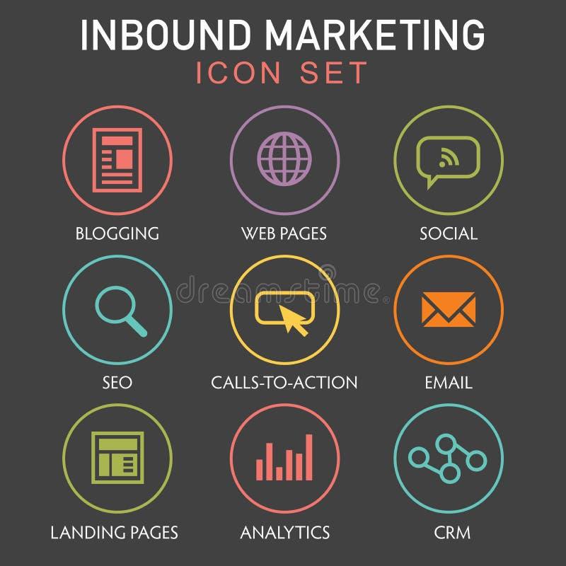 Iconos de entrada del gráfico del márketing stock de ilustración