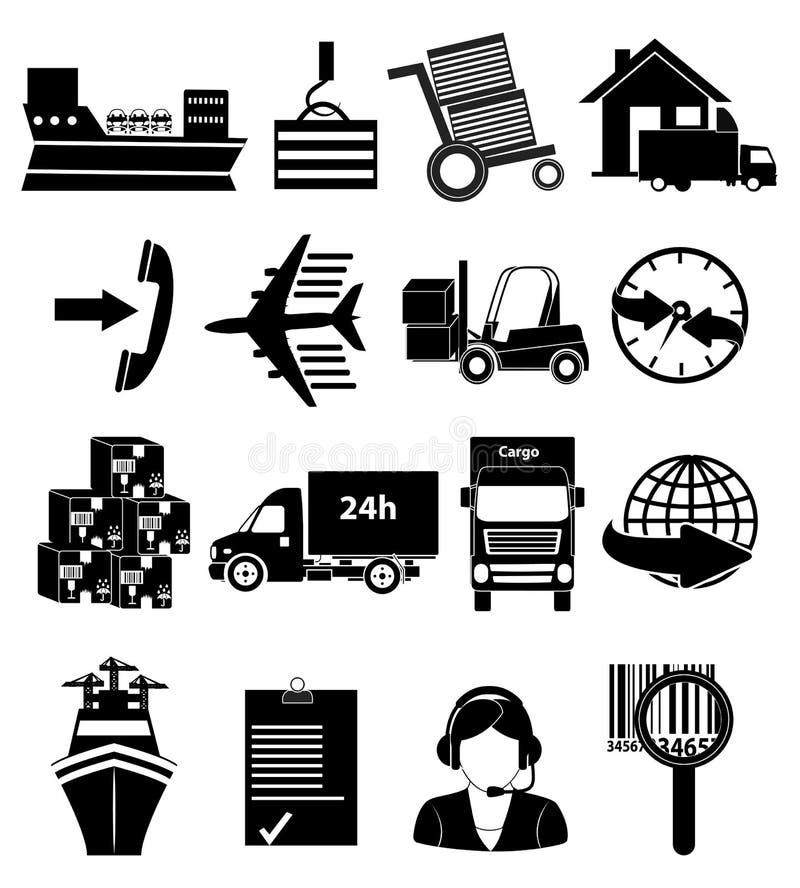 Iconos de envío del empaquetado y de la entrega fijados ilustración del vector