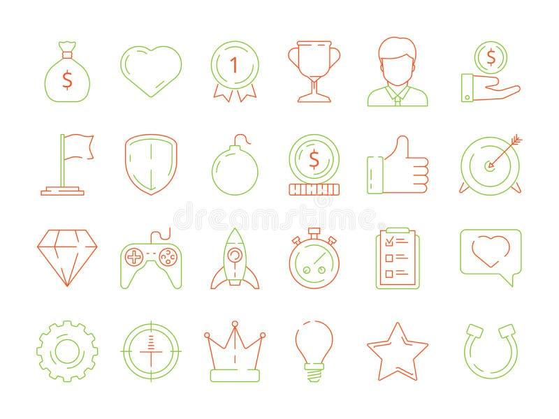 Iconos de Gamification los logros del negocio alinean el sistema del icono para los administradores de oficinas competitivos, lin stock de ilustración