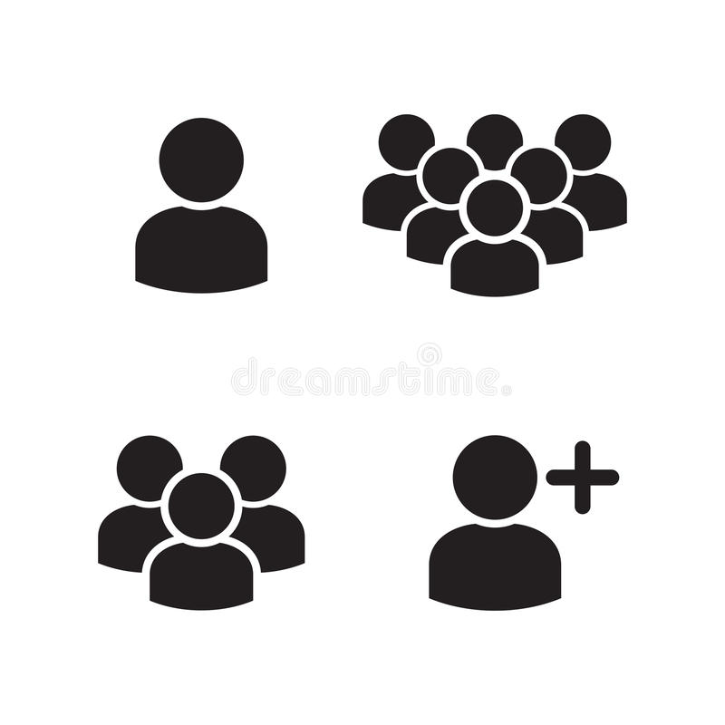 Iconos de grupo del perfil de usuario fijados ilustración del vector