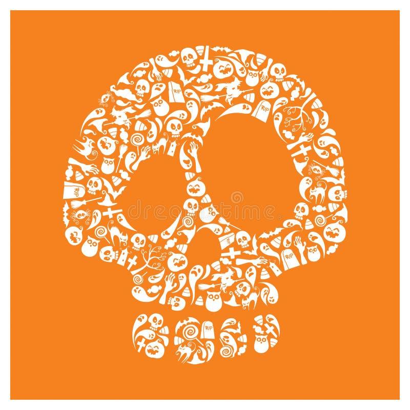 Iconos de Halloween - cráneo libre illustration